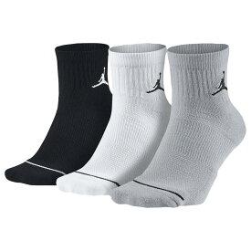 ナイキ ジョーダン Jordan ユニセックス バスケットボール 3点セット ジャンプマン ソックス【Jumpman Quarter 3 Pack Socks】Black/White/Wolf Grey
