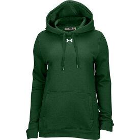 アンダーアーマー Under Armour レディース パーカー トップス【team hustle fleece hoodie】Forest Green/White