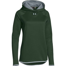 アンダーアーマー Under Armour レディース パーカー トップス【team double threat fleece hoodie】Forest Green/Steel