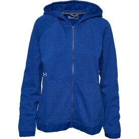 アンダーアーマー Under Armour レディース フィットネス・トレーニング パーカー トップス【team hustle fleece full-zip hoodie】Royal/White