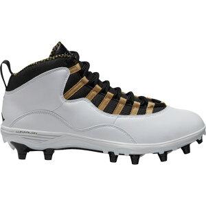 ナイキ ジョーダン Jordan メンズ アメリカンフットボール シューズ・靴【Retro 10 TD Mid】White/Black/Metallic Gold