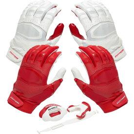 カッターズ Cutters ユニセックス アメリカンフットボール グローブ【Rev Pro 3.0 Solid Flip Combo Pack】Red/White Includes Sets of Receiver Gloves and Mouthguard