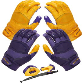 カッターズ Cutters ユニセックス アメリカンフットボール グローブ【Rev Pro 3.0 Solid Flip Combo Pack】Purple/Gold Includes Sets of Receiver Gloves and Mouthguard