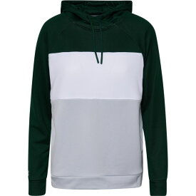 アンダーアーマー Under Armour レディース パーカー トップス【Team Terry Fleece Blocked Hoodie】Forest Green/Halo Gray/White