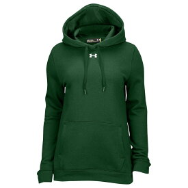 アンダーアーマー Under Armour レディース パーカー トップス【Team Hustle Fleece Hoodie】Forest Green/White