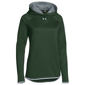 アンダーアーマー Under Armour レディース パーカー トップス【Team Double Threat Fleece Hoodie】Forest Green/Steel