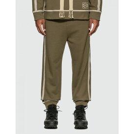 ロエベ Loewe メンズ スウェット・ジャージ ボトムス・パンツ【anagram embroidered track trousers】Khaki Green/Ivory