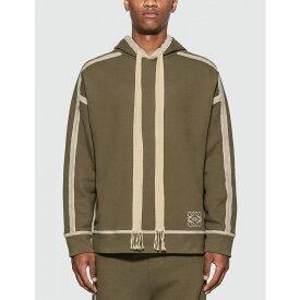 ロエベ Loewe メンズ パーカー トップス【anagram embroidered hoodie】Khaki Green/Ivory