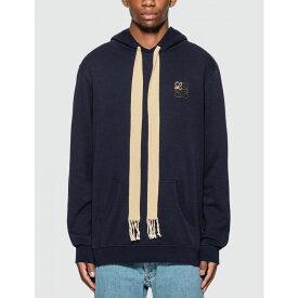 ロエベ Loewe メンズ パーカー トップス【anagram embroidered hoodie】Navy Blue