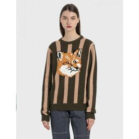 メゾン キツネ Maison Kitsune レディース ニット・セーター トップス【jacquard fox head stripe pullover】Khaki