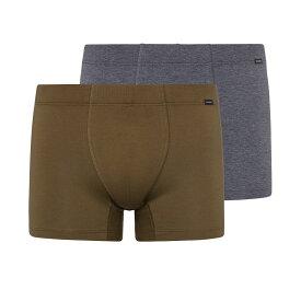 ハンロ Hanro メンズ ボクサーパンツ インナー・下着【Cotton Essentials Boxer Brief 2-Pack】Artichoke/Coal