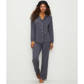 ベアフットドリームス Barefoot Dreams レディース パジャマ・上下セット インナー・下着【Luxe Milk Jersey Piped Modal Pajama Set】Graphite/Black