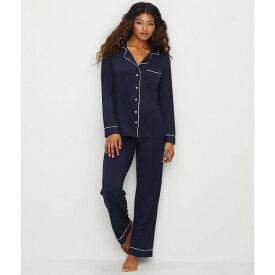 ベアフットドリームス Barefoot Dreams レディース パジャマ・上下セット インナー・下着【Luxe Milk Jersey Piped Modal Pajama Set】Indigo/Blue