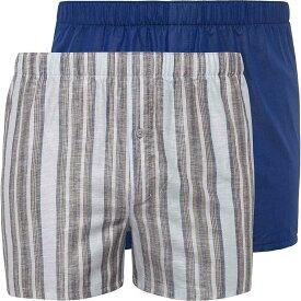 ハンロ Hanro メンズ ボクサーパンツ 2点セット インナー・下着【Fancy Woven Boxer 2-Pack】Linen Stripe/Royal