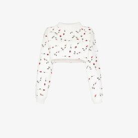 アダム セルマン Adam Selman Sport レディース スウェット・トレーナー トップス【Rose print cropped sweatshirt】white