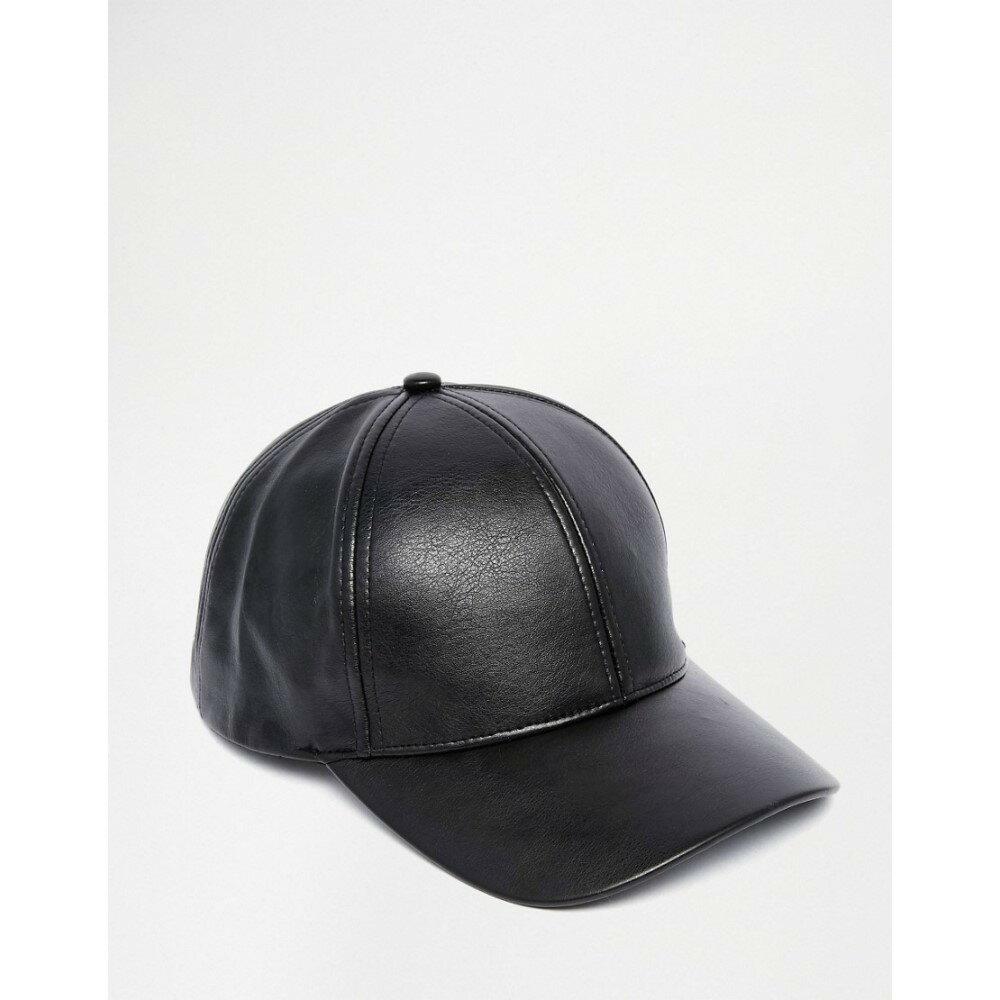 【即納】エイソス ASOS メンズ 帽子 キャップ【Baseball Cap In Black Faux Leather Black】Black