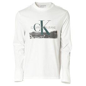【即納】カルバンクライン Calvin Klein メンズ トップス 長袖Tシャツ【LANDSCAPE PRINT LS TEE】WHITE ロンT ロングT ロングスリーブ