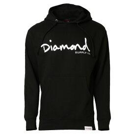 【即納】ダイアモンドサプライ Diamond Supply Co メンズ トップス パーカー【OG SCRIPT PULLOVER】BLACK フーディー プルオーバー