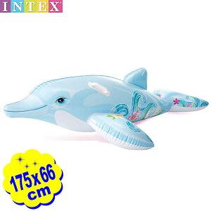 インテックス リル ドルフィン ライドオン 58535 175x66cm INTEX{浮き輪 大きい 大型 かわいい イルカ} {浮輪 浮き具 フロート マット 海水浴 プール 水遊び} 902[21D17]{あす楽 配送区分D}