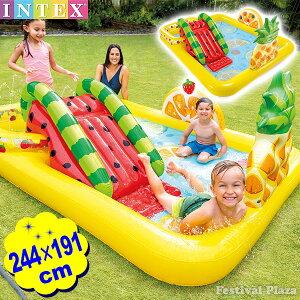 インテックス プール ファン フルーティ プレイセンター 57158 244x191x91cm INTEX{水遊び おうちプール かわいい おしゃれ} {浮き輪 ビニールプール 滑り台 すべり台 家庭用プール 子供用 こども 子