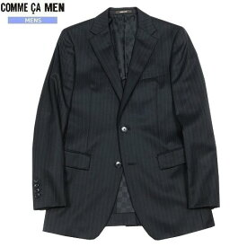 ■SALE 75%OFF■【COMME CA MEN】コムサメン 「FRESCO MODEL」ストライプ2Bテーラードジャケット 黒『15/1/5』270115