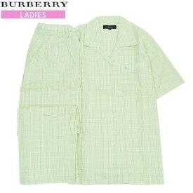 【新古品】【BURBERRY】バーバリー 日本製 ホースマーク刺繍 チェック 前開き 婦人パジャマ(半袖&長ズボン) 明緑『20/6/2』100620