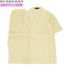 【新古品】【BURBERRY】バーバリー 日本製 ホースマーク刺繍 チェック 前開き 婦人パジャマ(半袖&長ズボン) 黄色『20/6/2』100620