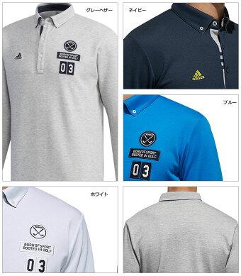 2018年秋冬新作アディダスゴルフウェアCCS70JPadicrossエンブレムL/SB.D.シャツポロシャツ(メンズ)