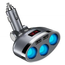 【メール便送料無料】シガーソケット 3連 車用ソケット分配器 2USBポート 車載充電器 カーチャージャー 増設 独立スイッチ 電圧測定 合計3.4A / 5V 急速充電