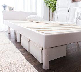 コンセント付きすのこベッド+マットレス付シングル頑丈シンプル高さ3段階すのこベッド脚高さ調節ポケットコイル【送料無料】〔A〕木製/フロア/ローベッド/ブックシェルフ/2口コンセント/宮付き