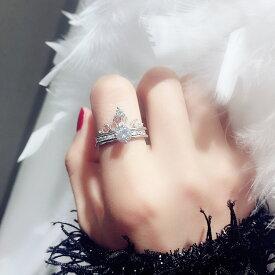 ネコポス送料無料 指輪 リング 2連 フリーサイズ 3way 王冠 モチーフ リング指輪 レディース ジュエリー ストーン付き キラキラ シルバー アクセサリー 誕生日プレゼント プレゼント 女性 結婚記念日