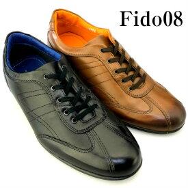 レザースニーカー 本革 メンズ 靴 カジュアルシューズ ビジネスシューズ ブラック 黒 ブラウン 茶 Fido08