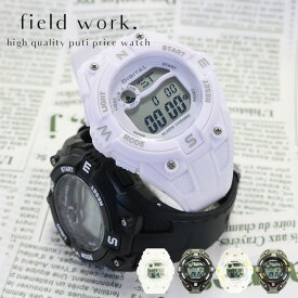 腕時計 ユニセックス デジタルウォッチ ストップウォッチ 多機能 プチプライス プチプラ フィールドワーク 1年保証