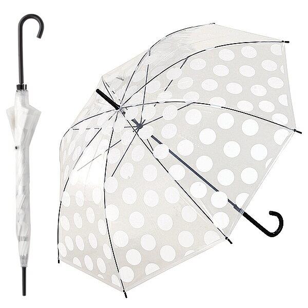【 パール金属 】ファッションビニールアンブレラ ドットホワイト ( N-8496 / AP10245403 )【 ビニール傘 かわいい 傘 透明 おしゃれ ドット柄 水玉模様 柄 100cm 大きめ 】【QBH33】