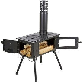 薪ストーブ ダッチオーブン バーベキュー UG-0075 KAMADO(かまど)煙突 ガラス窓付 角型ストーブ 【CAG】