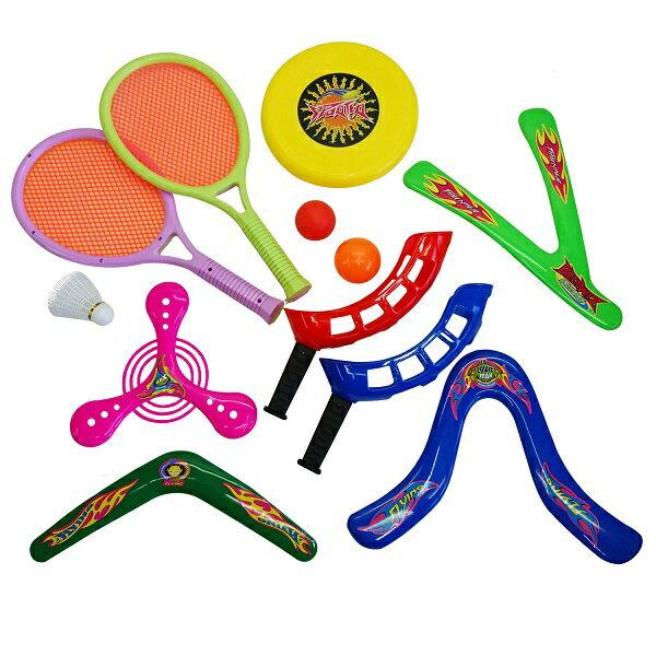 ファミスポセット (KA189458/KW-670)【 バトミントン ブーメラン フリスビー ボール ピクニック レジャー アイテム おもちゃ 玩具 スポーツ セット 】