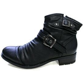 メンズ ブーツ サイドジップ シャーリング加工 内側ジッパー ベルト 大きいサイズ 28cm タンクソール 黒 ブラック CND-548 4cm ヒール 25cm 25.5cm 26cm 26.5cm 27cm
