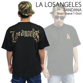LA エルエー エルエーロザンゼルス 半袖Tシャツ BANDANA 黒×金 西海岸 HIPHOP ヒップホップ あす楽 セットアップ BIGSIZE ビッグサイズ 大きいサイズ えるえー junksite メンズ ファッション あす楽 アメカジ ストリート ルード スケート