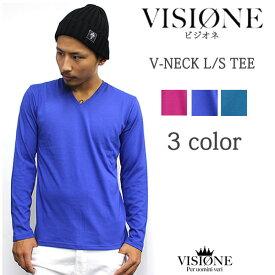 VISIONE/ビジオネVネック 長袖Tシャツ 3Color カラー メンズ ファッション あす楽 アメカジ ストリート ルード スケート