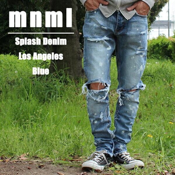 送料無料 ミニマル 裾ZIP(ジップ) ダメージクラッシュジーンズ mnml M1 DENIM M2016-P151 クラッシュデニムパンツ ジップジーンズ スリムフィット スキニー B系 ストリート系 メンズファッション