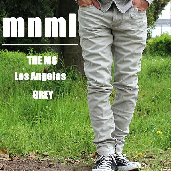 送料無料 ミニマル 裾ZIP(ジップ) ダメージクラッシュジーンズ mnml M1 DENIM D108-GRY デニムパンツ ジップジーンズ スリムフィット スキニー B系 ストリート系 メンズファッション グレー
