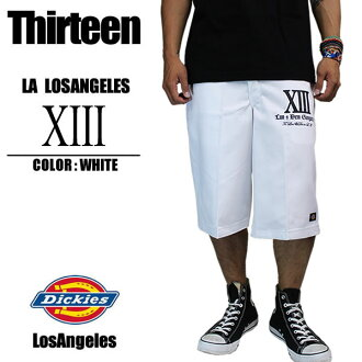 """在特隆赫姆,滑冰 dickies × la 洛杉矶短裤""""十三""""白色自定义原始啦拉大的大尺寸 40 寸 42 寸男子时尚休闲街"""