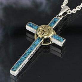 シルバー アクセサリー シルバーペンダント シルバー925 ターコイズ ブルーレジン クロス シルバーアクセ メンズ ネックレス 真鍮 ココペリ ナジャ 十字架