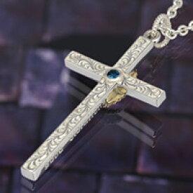 シルバー アクセサリー シルバーペンダント シルバー925 クロス メンズ ユニセックス ネックレス ロンドンブルートパーズ 十字架 真鍮 マリア