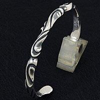 シルバーバングル silver625 スクロール ウェーブ メンズ レディース シルバーアクセサリー シルバー ブレスレット バングル シルバー925 メンズアクセ プレゼントに人気 送料無料