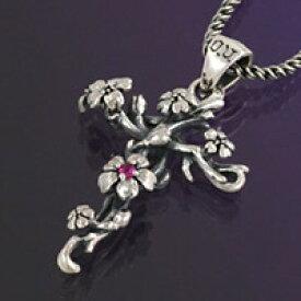 シルバー アクセサリー シルバーペンダント シルバー925 フラワー クロス ルビー 和風 メンズ レディース ネックレス 桜 サクラ 花 和柄