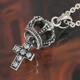 クラウン 王冠 クロス 十字架 ジルコニア シルバーネックレス シルバーチェーン ペンダント メンズ レディース 男性用 女性用 男女兼用 シルバーアクセサリー ネックレスチェーン 送料無料