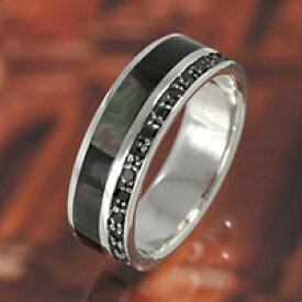 ブラックジルコニア ブラックシェル 貝殻 シンプル シルバーリング 指輪 メンズアクセサリー レディースアクセサリー 男性用 女性用 ペアリング・プレゼントに大人気 ジュエリー 送料無料