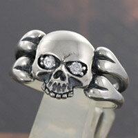 シルバーリング 指輪 silver925 スカル リング ドクロ ジルコニア シルバーアクセ メンズ レディース 男女兼用 ピンキーリング ペアリングに人気 送料無料