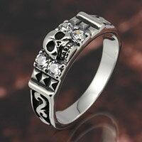 スカル ドクロ ジルコニア スタッズ スカルリング シルバー925 シルバーアクセサリー メンズ シルバーリング 指輪 メンズアクセサリー 送料無料